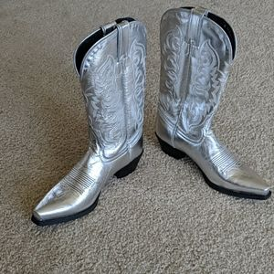 New Tony Lama silver leather cowboy boots 6
